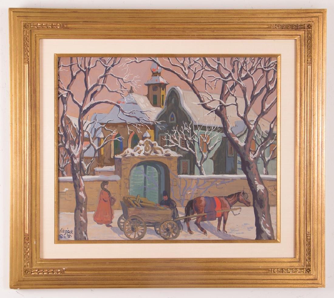 Bela Kadar gouache Eastern European Street in Winter - 2