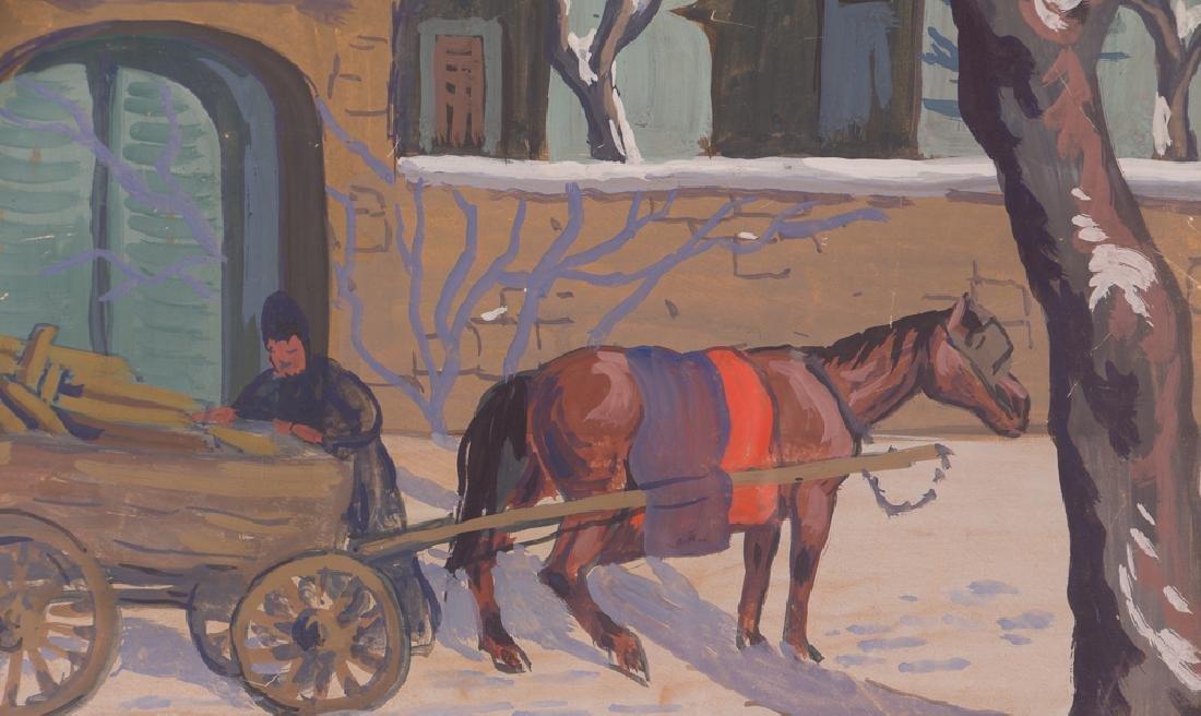Bela Kadar gouache Eastern European Street in Winter - 4