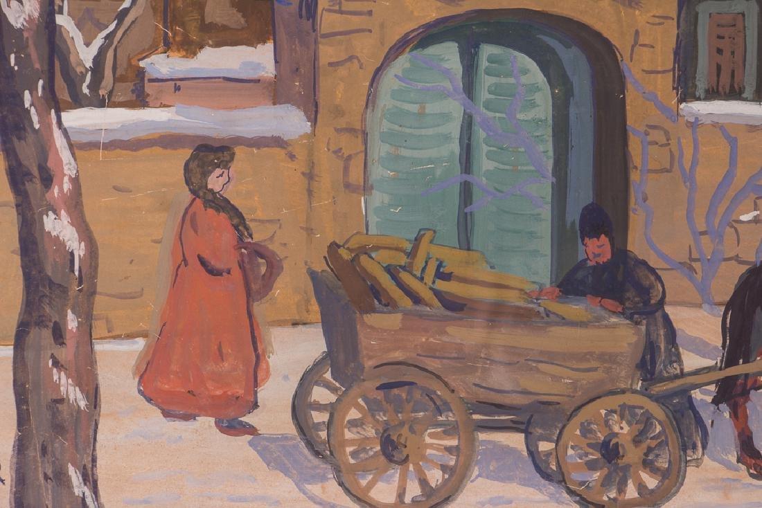 Bela Kadar gouache Eastern European Street in Winter - 5