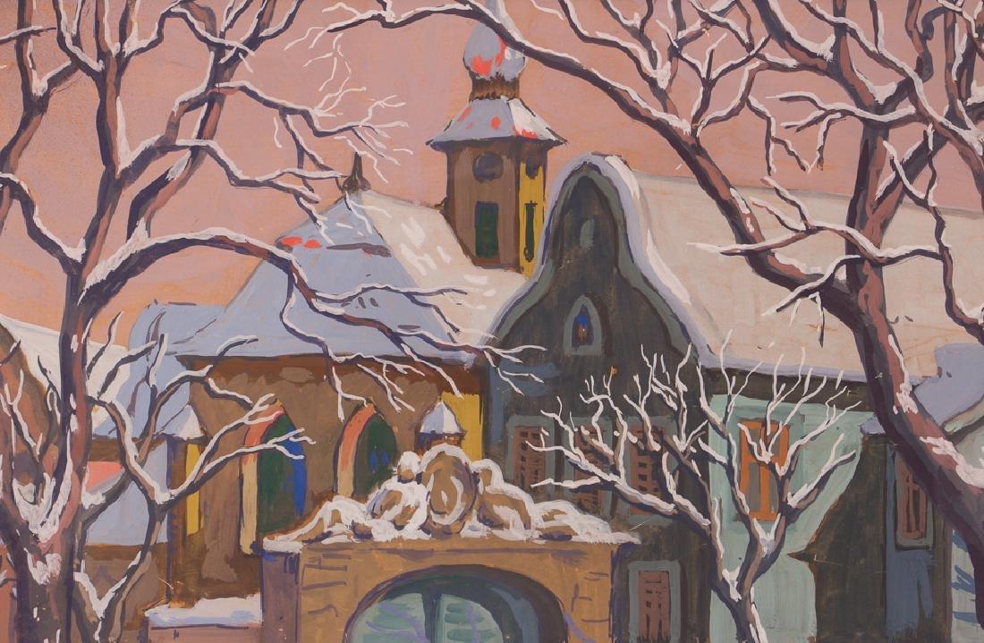 Bela Kadar gouache Eastern European Street in Winter - 6
