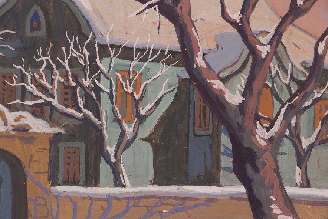 Bela Kadar gouache Eastern European Street in Winter - 7