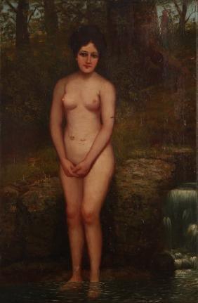 Primitive Bathing Venus Oil on Canvas