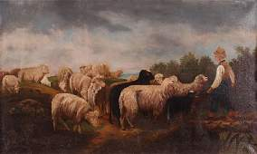 English Sheep and Shepherd Primitive Painting