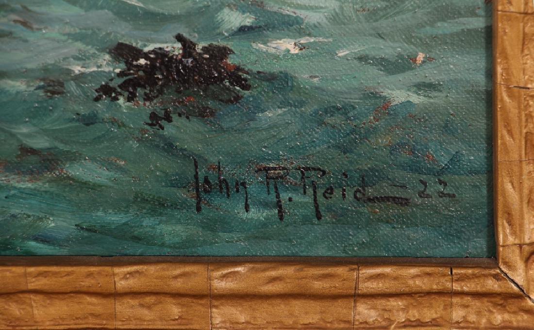 John R Reid Seascape Oil on Canvas - 3