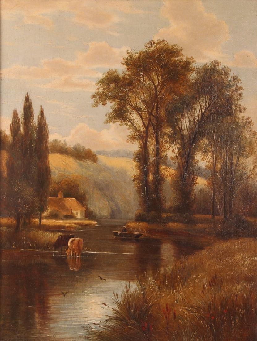 Pair Charles Vickers Rural Scene Oil Paintings