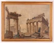 Two Antique Felt Fabric Scenes Dated 1788