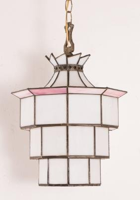 3 Leaded White and Pink Glass Drop Lights