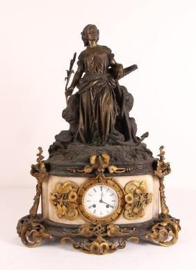 Art Nouveau Bronze Mantle Clock