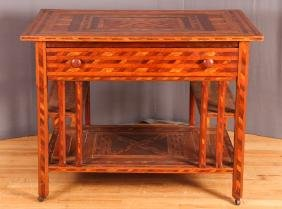 Vintage Signed American Folk Art Marquetry Desk