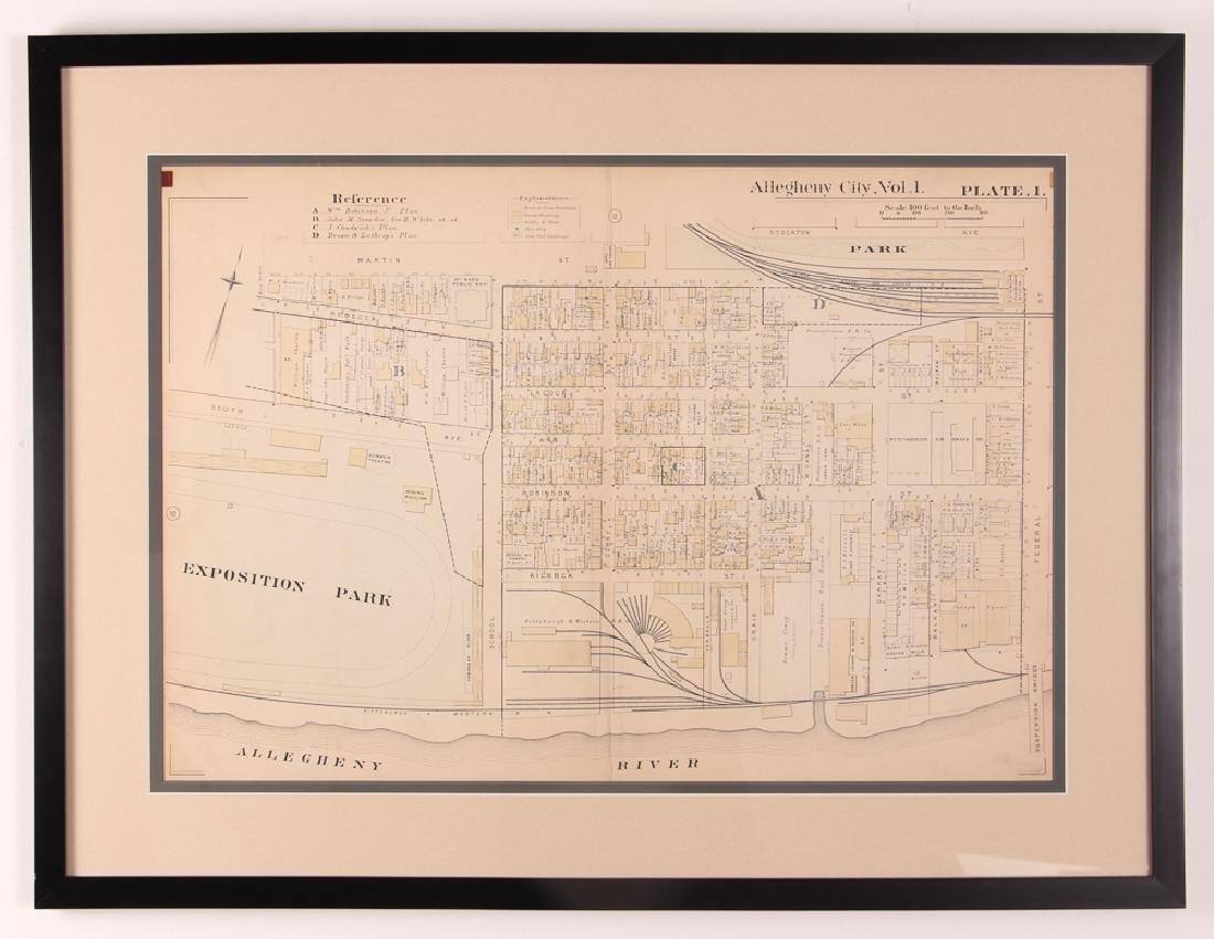 Early 1900's Pittsburgh North Shore Plot Map Allegheny - 2