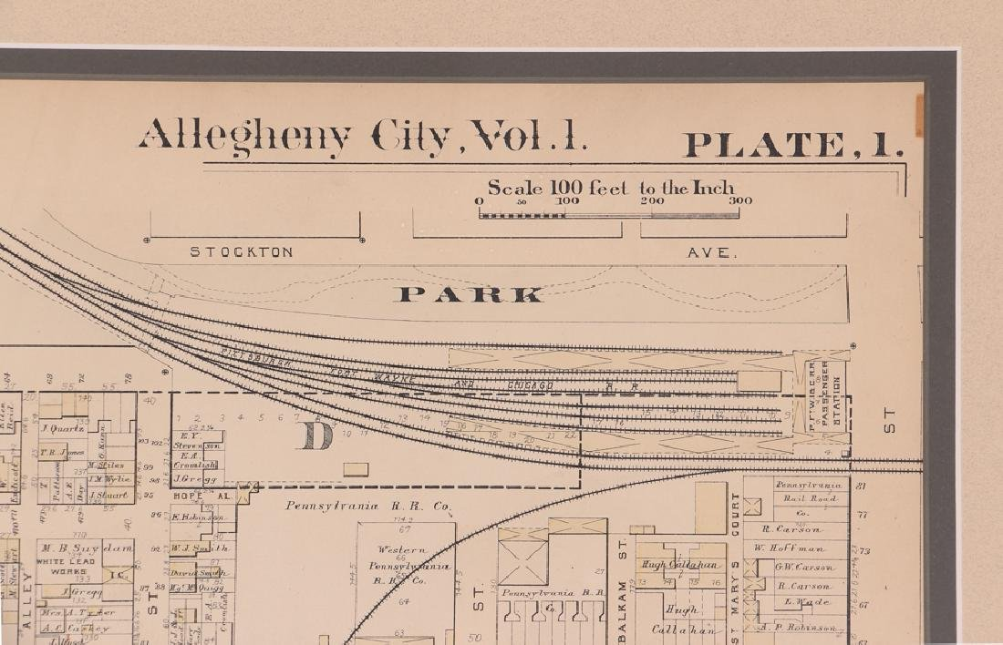 Early 1900's Pittsburgh North Shore Plot Map Allegheny - 3
