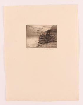 "Joseph Stastny etching ""Smithfield Street Bridge with"
