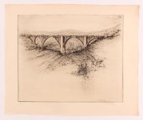 "Joseph Stastny etching ""Westinghouse Bridge, Mon"
