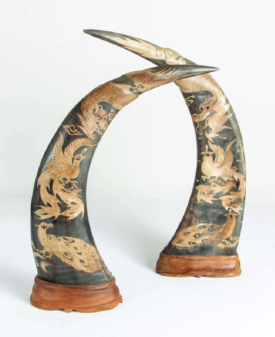 Pair of Carved Oxen Horns with Oriental Design