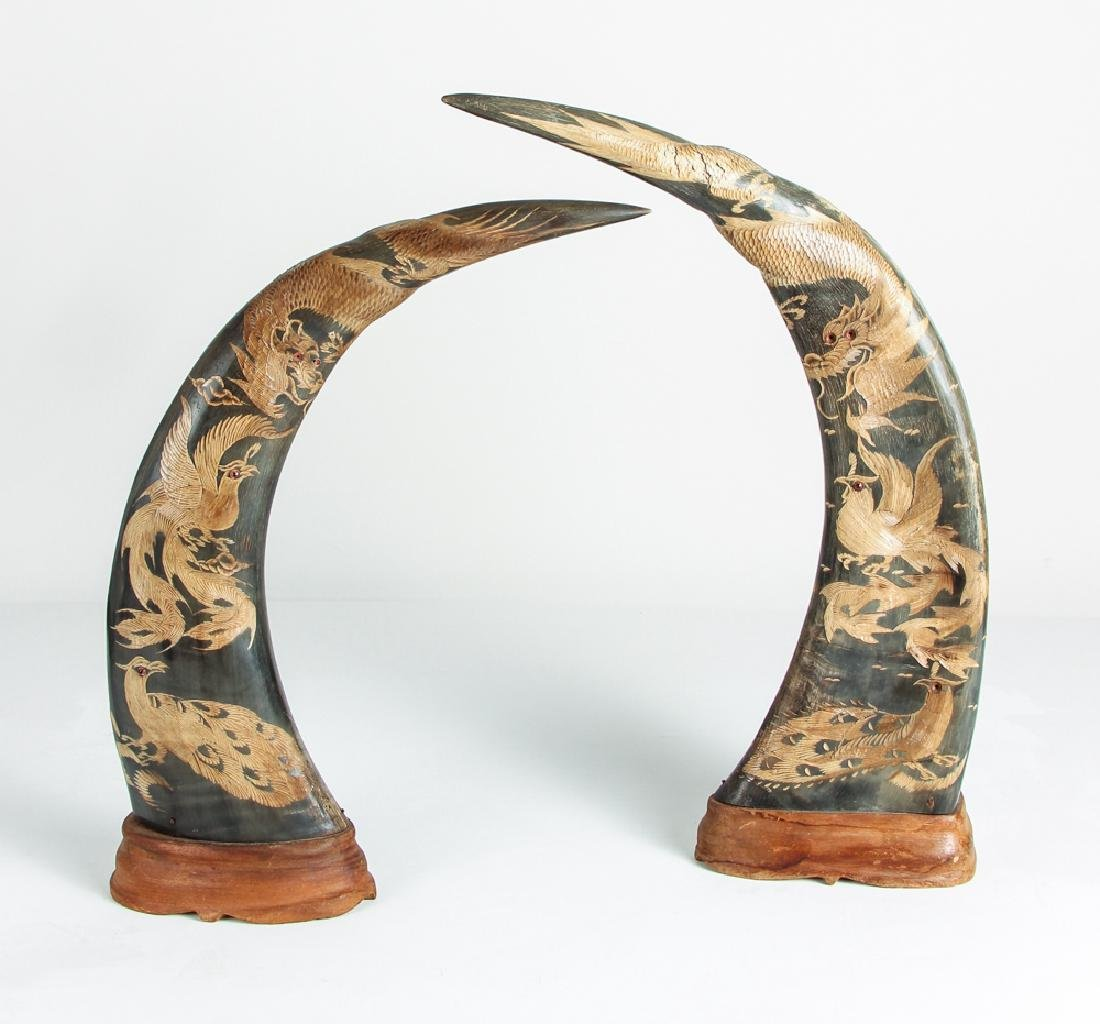 Pair of Carved Oxen Horns with Oriental Design - 2