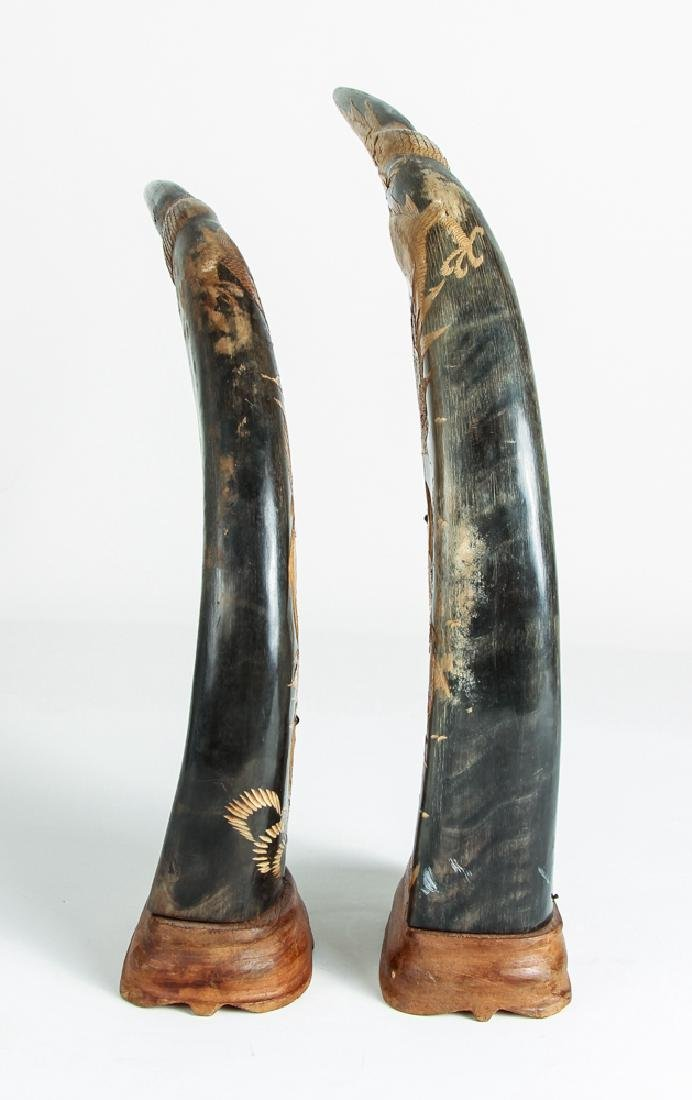 Pair of Carved Oxen Horns with Oriental Design - 3