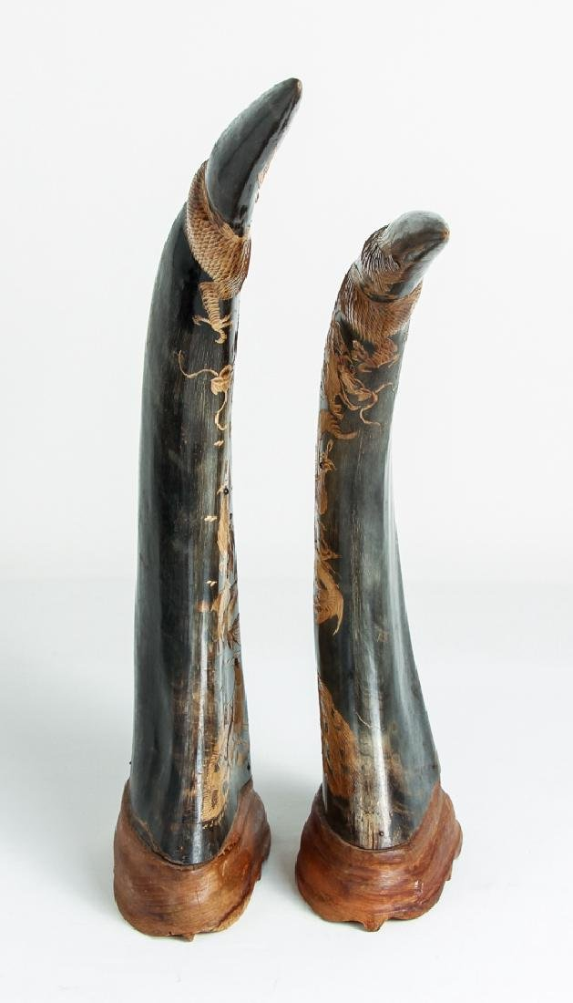 Pair of Carved Oxen Horns with Oriental Design - 5