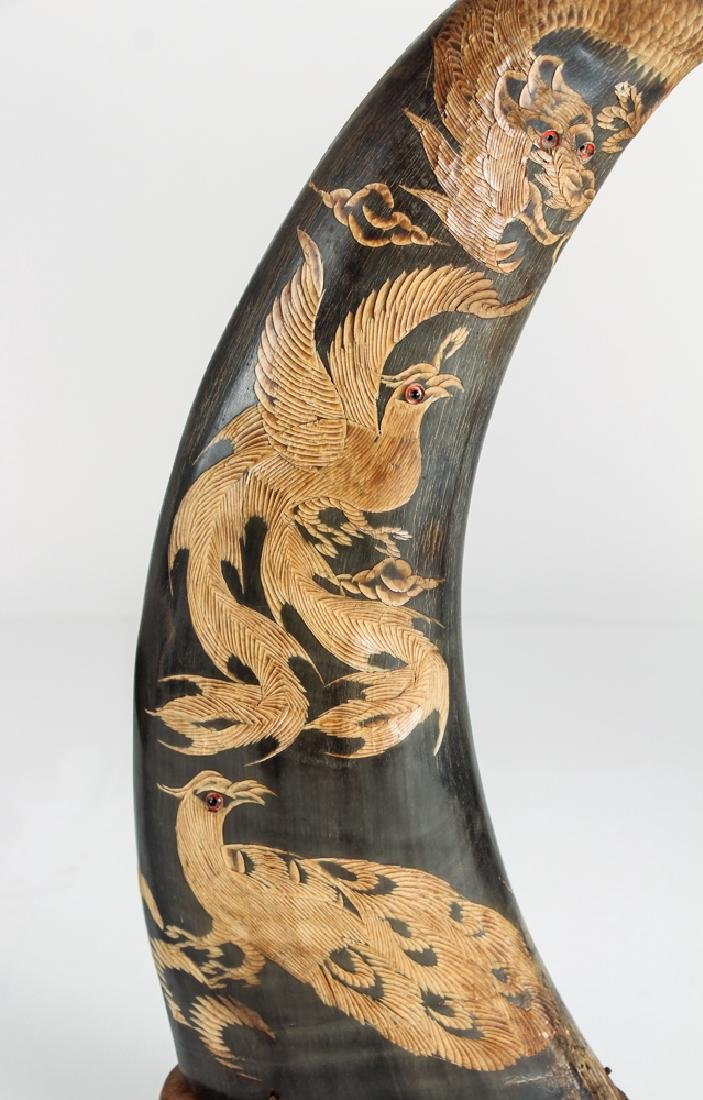 Pair of Carved Oxen Horns with Oriental Design - 6