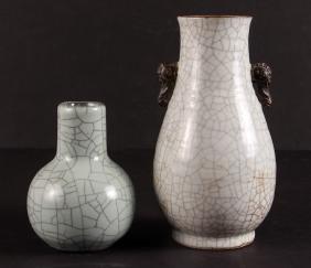 Two Chinese Crackle Glaze Celadon Vases