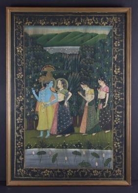 Indian Gouache Painting On Silk