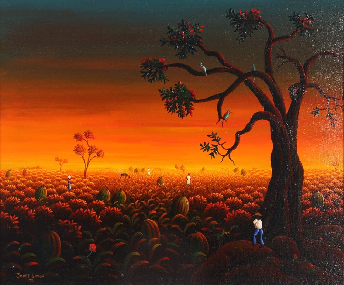 Janet Sanon 1990 Field with Large Melons at Twilight