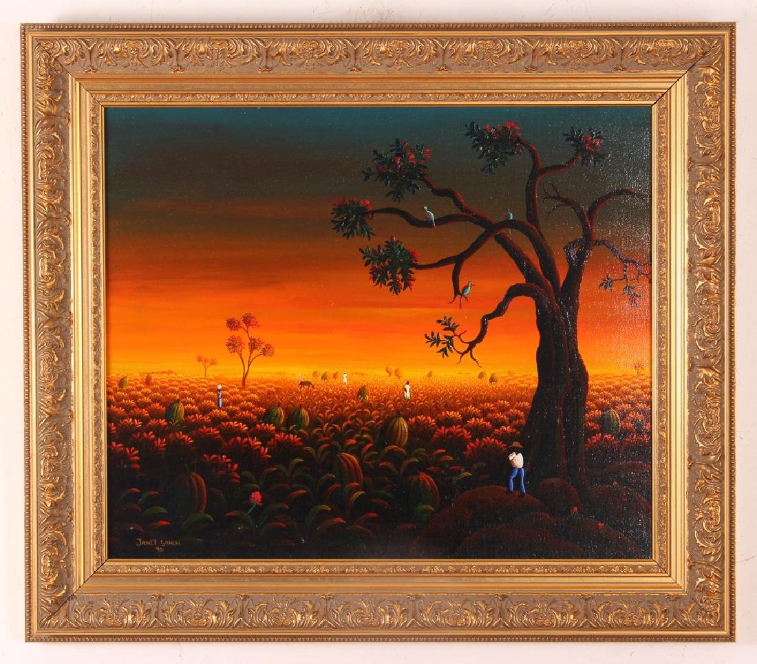 Janet Sanon 1990 Field with Large Melons at Twilight - 2
