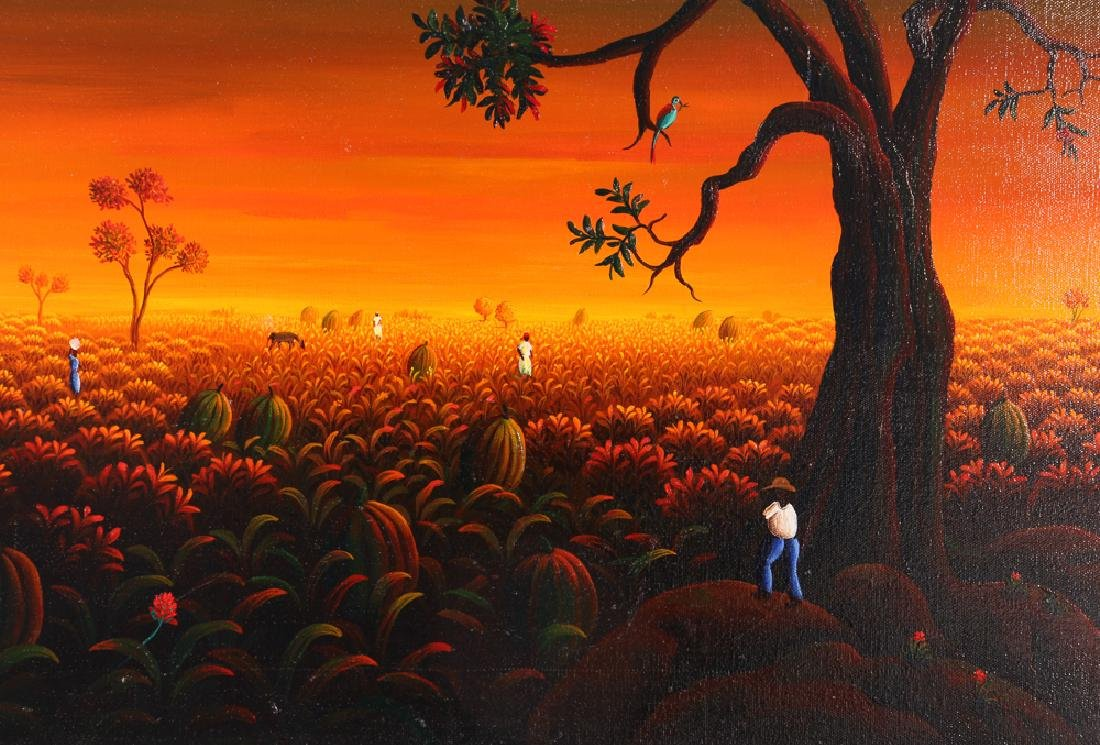 Janet Sanon 1990 Field with Large Melons at Twilight - 4