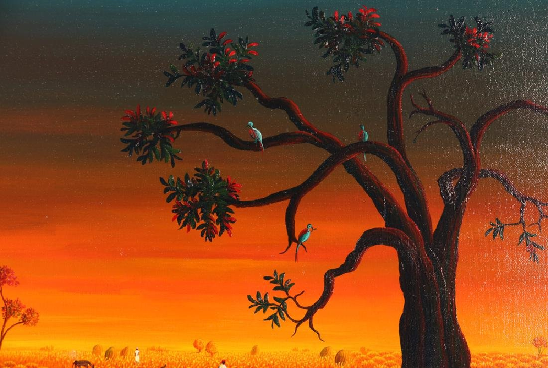 Janet Sanon 1990 Field with Large Melons at Twilight - 5