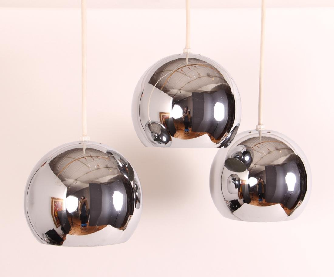 Three Hanging Chrome Globe Pendant Lights