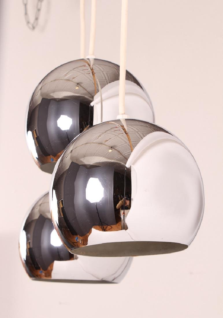 Three Hanging Chrome Globe Pendant Lights - 2