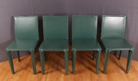 4 Mario Bellini for Cassina Teal Leather CAB Chairs