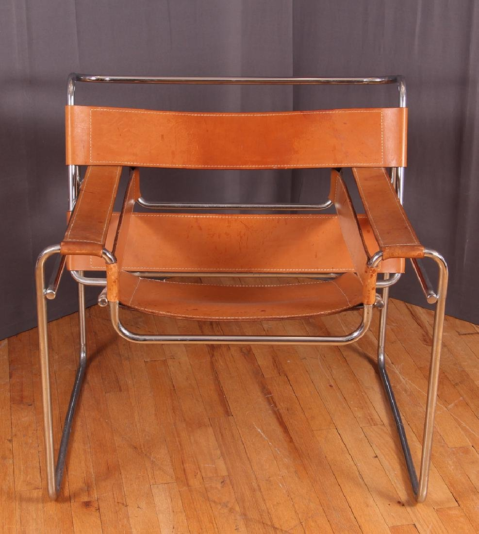 Breuer Wassily Chair with tan leather upholstery