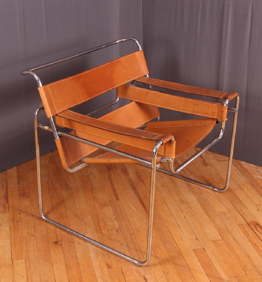 Breuer Wassily Chair with tan leather upholstery - 2