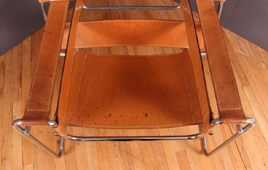 Breuer Wassily Chair with tan leather upholstery - 6