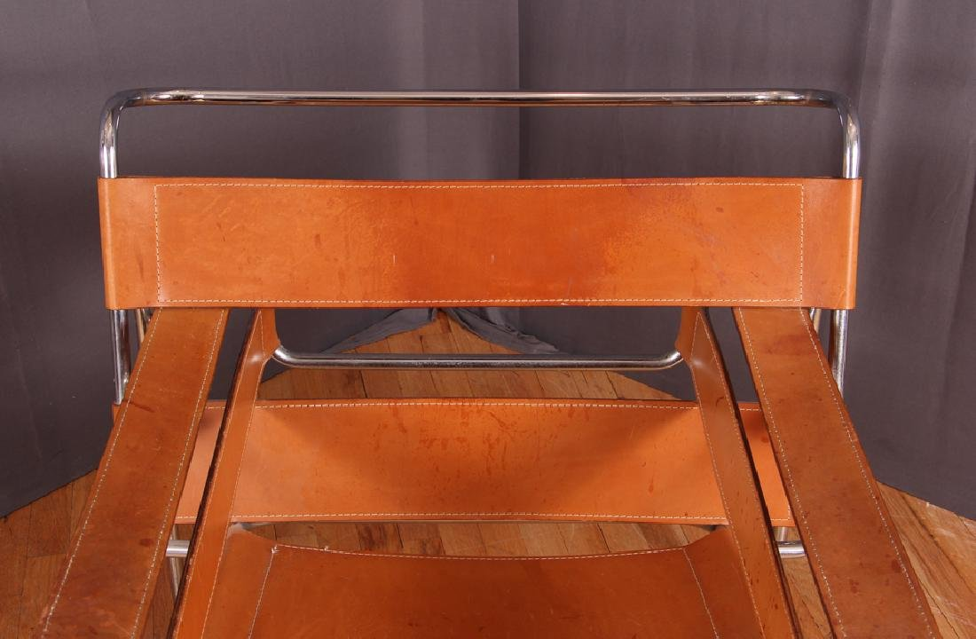 Breuer Wassily Chair with tan leather upholstery - 7