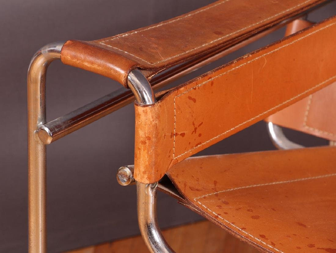 Breuer Wassily Chair with tan leather upholstery - 8