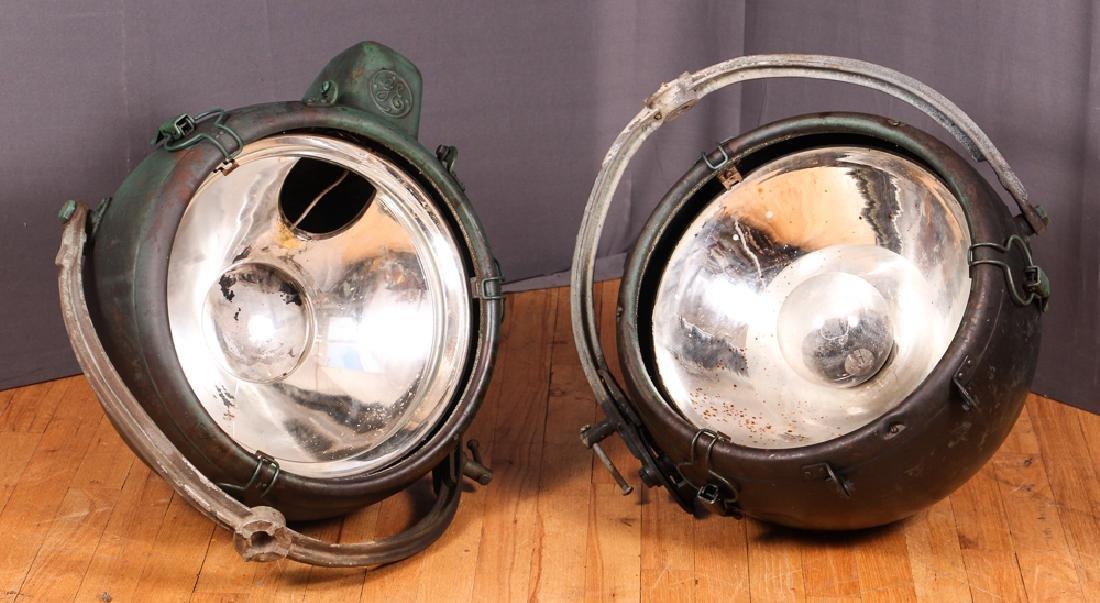 2 Industrial Age GE Copper Spotlights