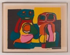Karel Appel 1969 orig litho Composition w 2 Figures