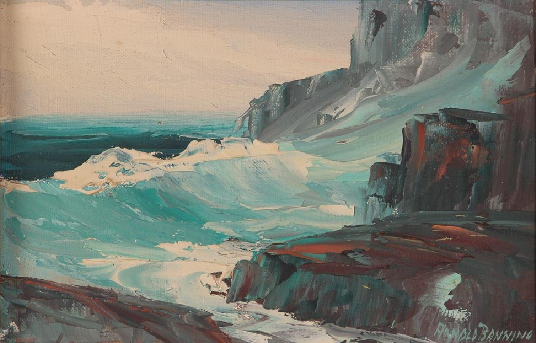Arnold Banning rocky seascape oil on canvas board