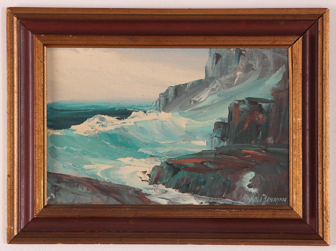 Arnold Banning rocky seascape oil on canvas board - 2