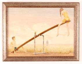 Two Walter Bedel Surrealist Style Paintings