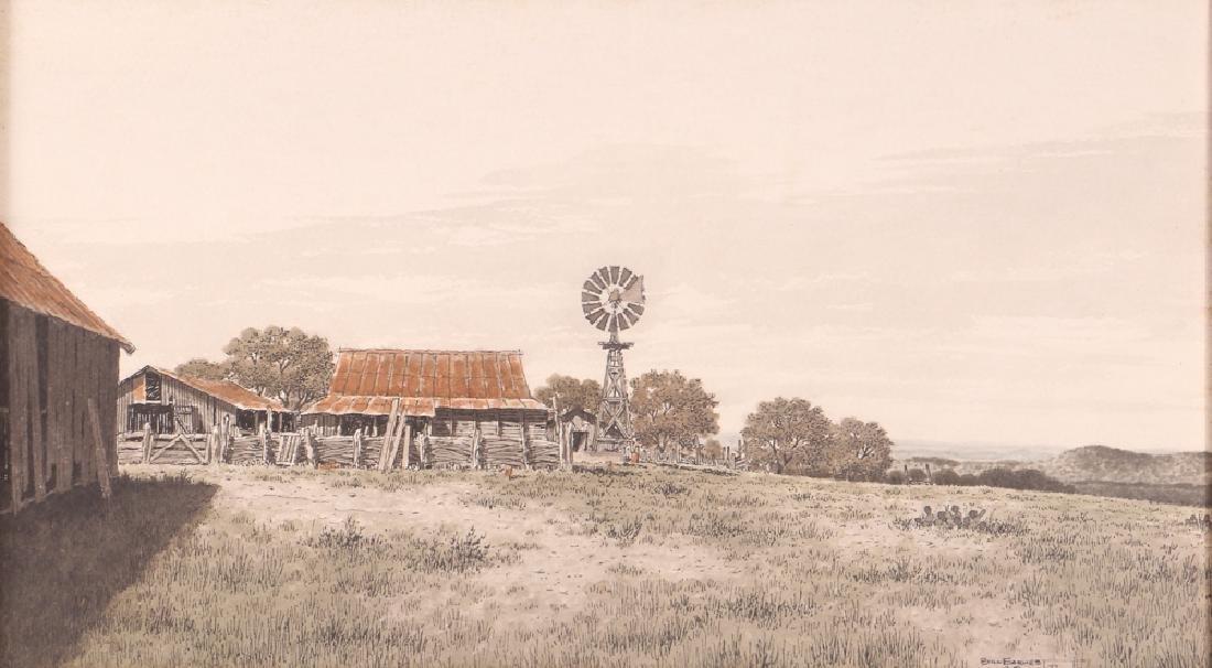 Bill Earnest Texas Farm Watercolor