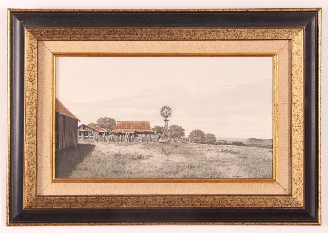 Bill Earnest Texas Farm Watercolor - 2