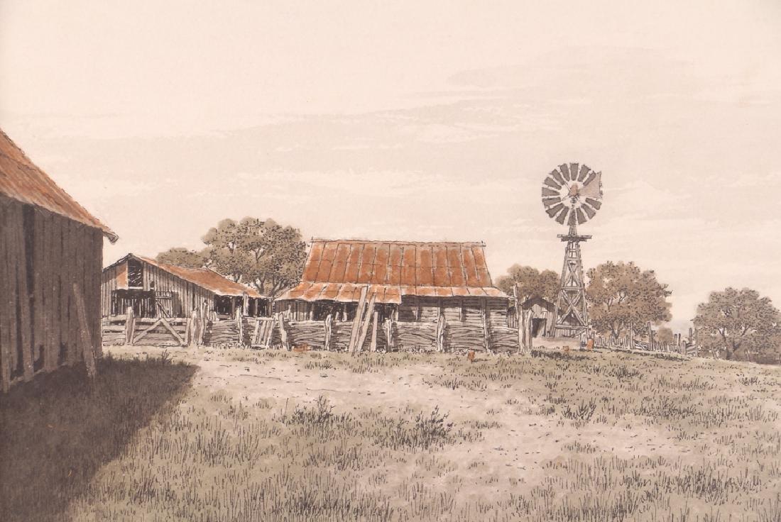 Bill Earnest Texas Farm Watercolor - 4