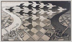 M C Escher Day and Night Woodcut Print