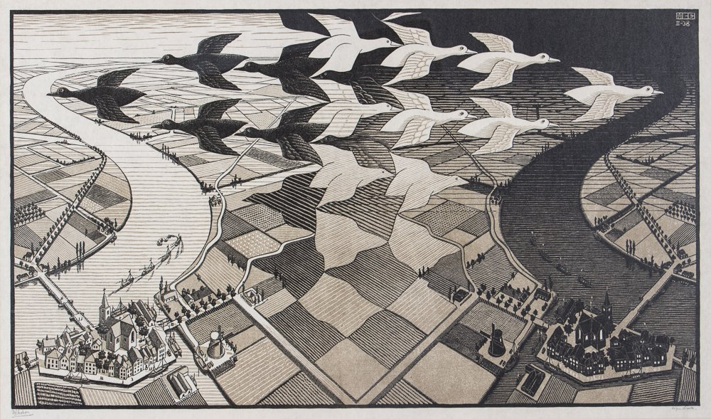 M C Escher Day and Night Woodcut Print