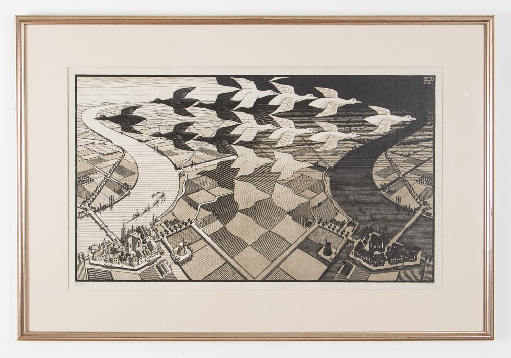 M C Escher Day and Night Woodcut Print - 2