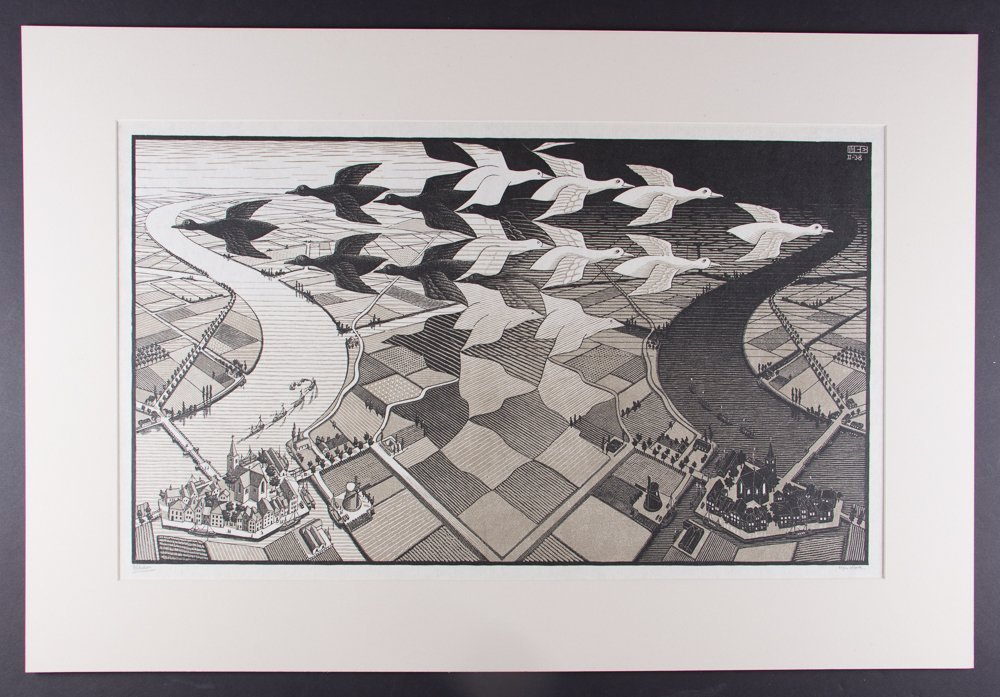 M C Escher Day and Night Woodcut Print - 3