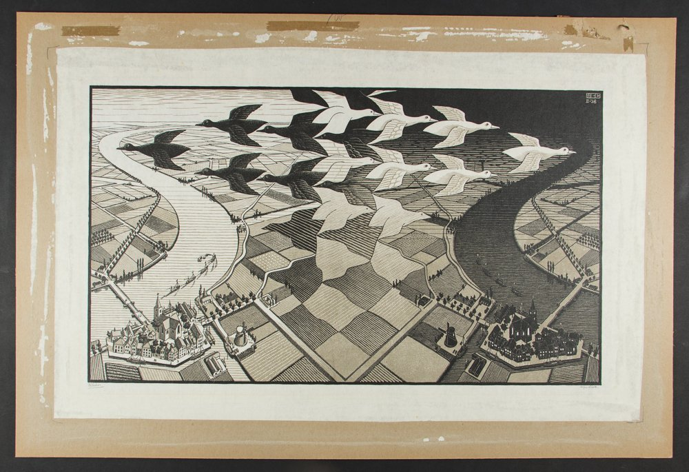M C Escher Day and Night Woodcut Print - 4