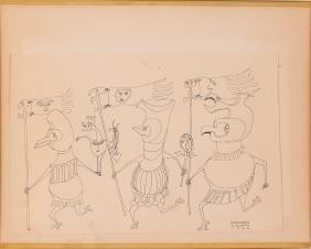 "Henry ""Hank"" Evjenth 1969 ink Drawing ""Forward"""